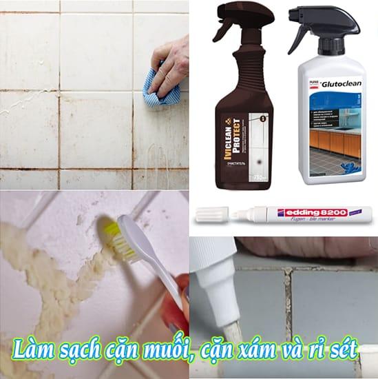 IveClean, GlutoClean Loaị bỏ vôi, rỉ xét ố vàng xám trên gạch nền nhà tắm, nhà vệ sinh