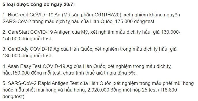 5 loại test kit covid 19