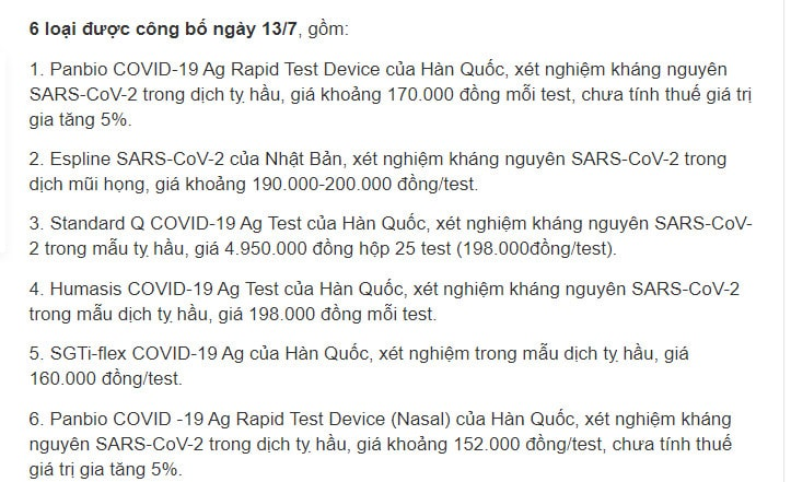 5 loại kit test nahnh covid